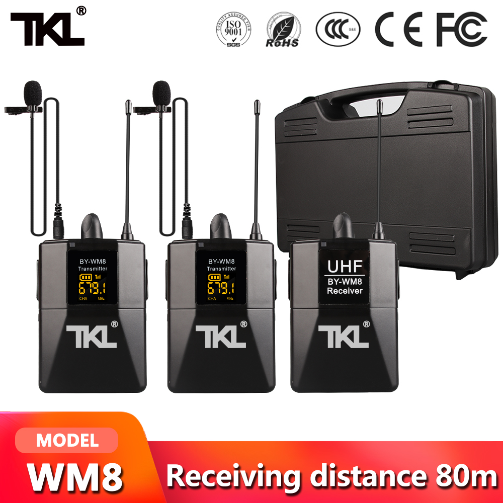 TKL DSLR Cámara Lapel Mic transmisor Youtube Video grabación sistema con micrófono inalámbrico receptor profesional WM8