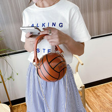 Lady Round Crossbody Handbag Fashion Basketball Shape Chain Tote Bags For Women Zipper Ball Purses Shoulder Messenger Bag(China)