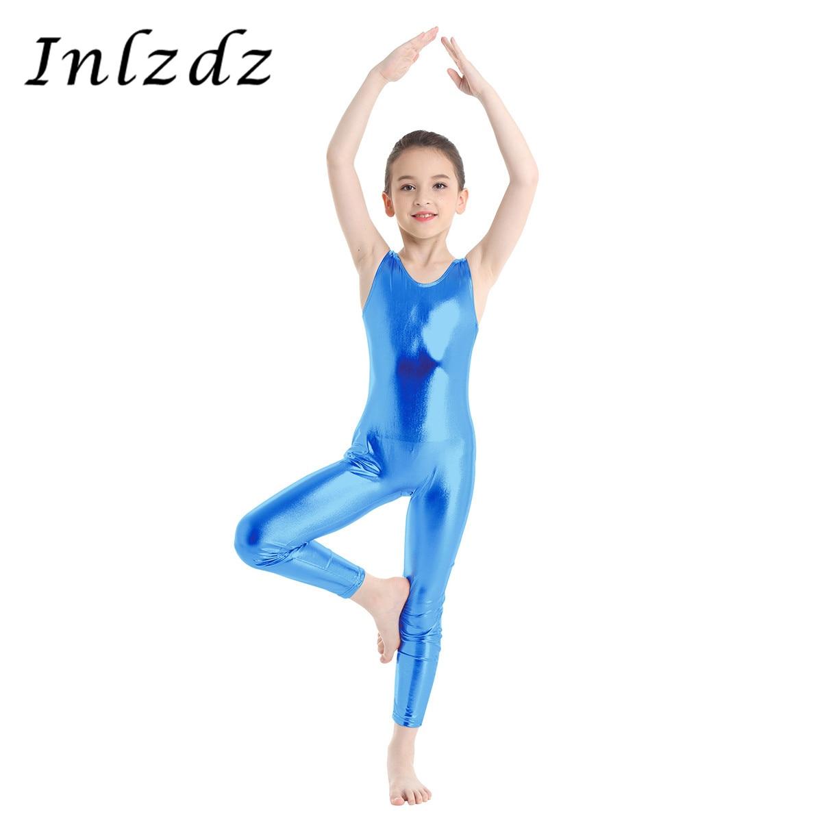 inlzdz Kids Girls Sleeveless Mesh Splice Ballet Dance Gymnastics Leotard Bodysuit Ballroom Dance wear Costumes