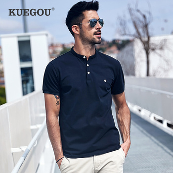 KUEGOU Cotton clothing Men's polo shirts short sleeves fashion embroidery men wear summer quality slim top plus size ZT-3383 - discount item  55% OFF Tops & Tees