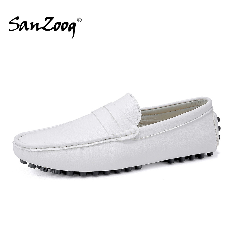 Genuine Leather Men Loafers Mens Shoes With Spikes Moccasins Man's Shoe Casual Summer Boat Driving Lofer Moccasin Size 49 50