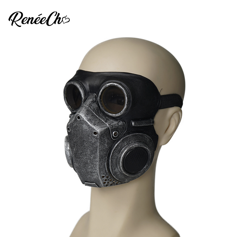 Reneecho Steampunk  Men Gas Mask Respirator Cosplay Unisex Latex Mask Halloween Costume Prop Masquerade Masks Women Teenage