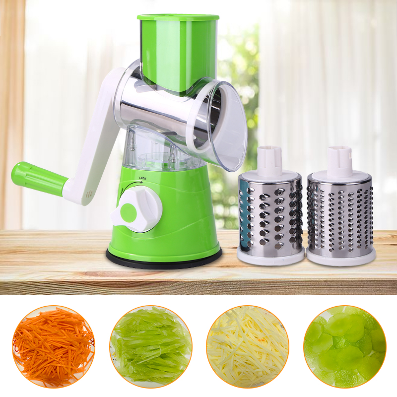 Multi-functional Manual Vegetable Fruit Cutter Potato Shred Grater Stainless Steel Round Slicer Kitchen Accessories Cooking Tool