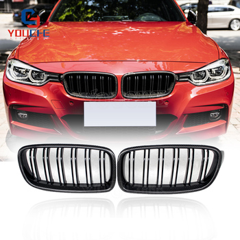 F30 Front Carbon Fiber 2 Line Double Slat Bumper Grille for BMW 3 Series F30 F31 Sedan Wagon 2012 - 2019 320i 328i 330i 335i