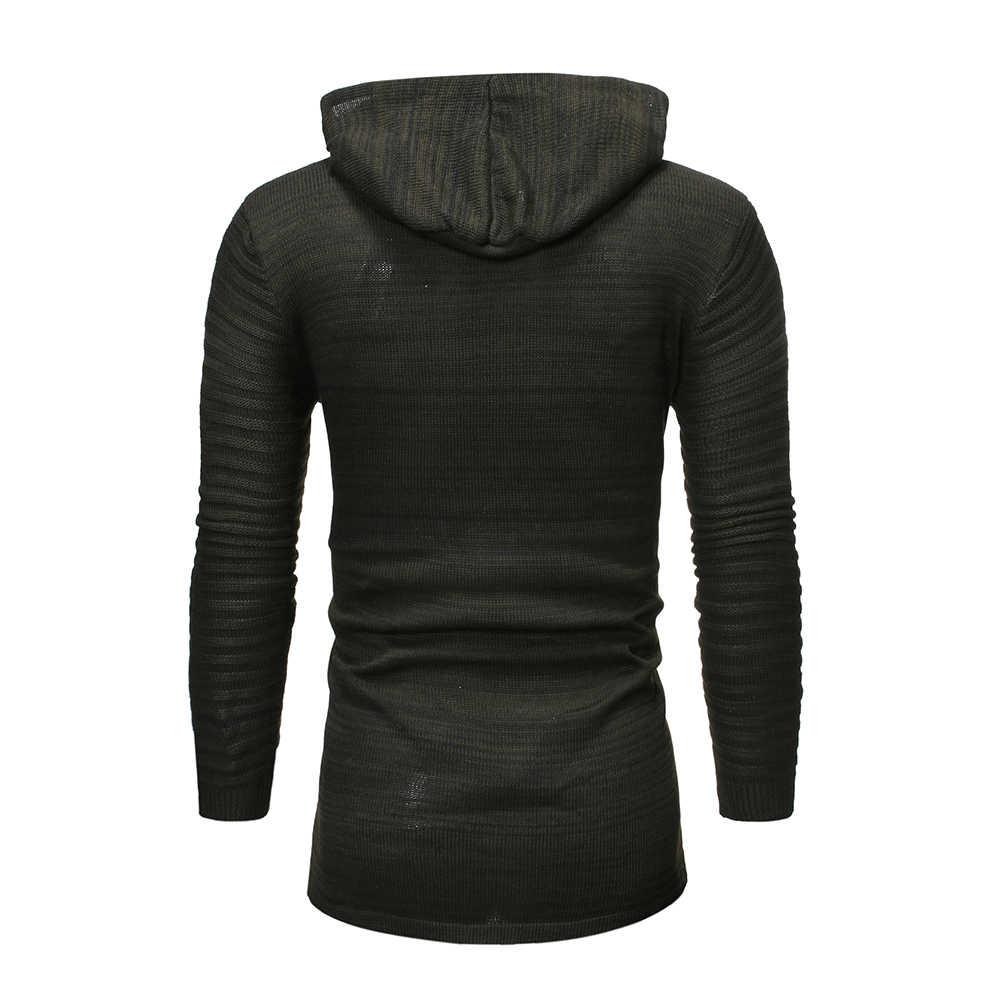 Pria Hitam Ritsleting Cardigan Sweater Pria 2019 Sweater Rajut Musim Dingin Pria Slim Fit Kasual Kardigan Sweater Pria Sueter Hombre