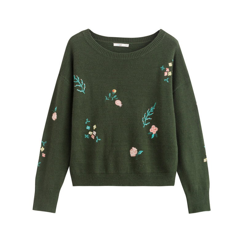 INMAN Autumn Plant Pattern Embroidery Print Long Sleeve Women O Neck Sweater