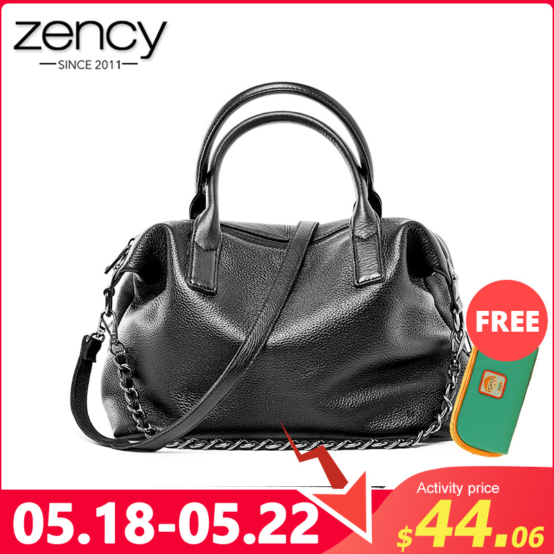 Zency 100% Genuine Leather Daily Casual Women Tote Handbag Classic Black Large Capacity Shoulder Bags Elegant Lady Crossbody Bag