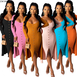 CM.YAYA Women Knitted Vintage Long Sleeve Clock Tops Bodycon Midi Sleeveless Dress Suit Two Piece Set Fitness Outfits