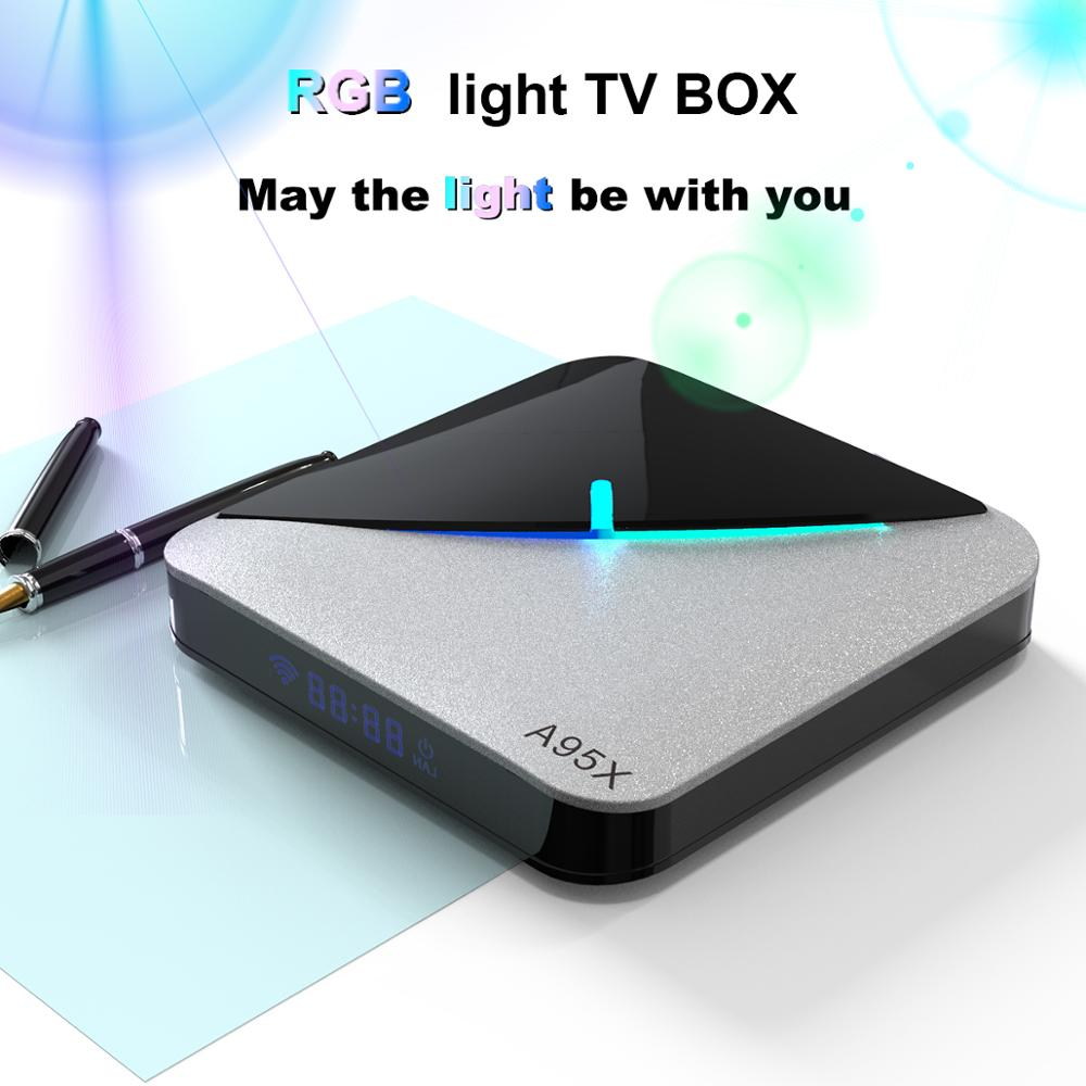 A95X F3 Air RGB Licht Android 9.0 Smart TV Box 2,4G/5G WifI 4GB 64GB 32GB X 2G16G Amlogic S905X3 Drahtlose BT4.2 HD Ott