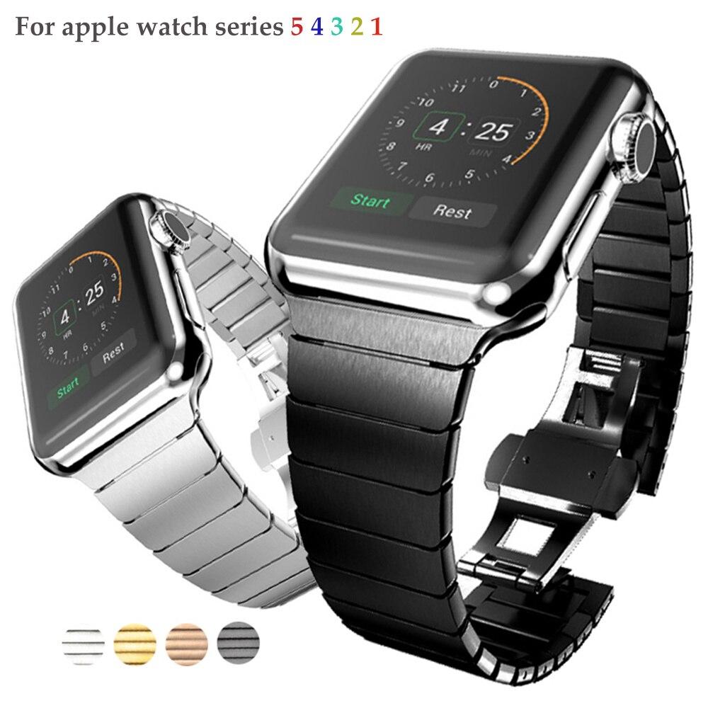 Link Pulseira banda strap Para apple watch 5 4 44mm/40mm iwatch 3 banda 42mm/38mm pulseira de metal pulseira de Aço Inoxidável pulseira