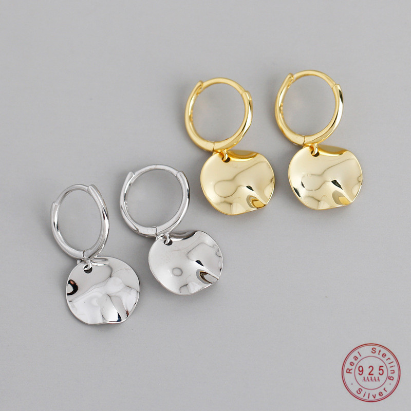 925 Sterling Silver Round Geometric Pendant Earrings For Women Simple Retro Party Wedding Jewelry Accessories Girlfriend Gift