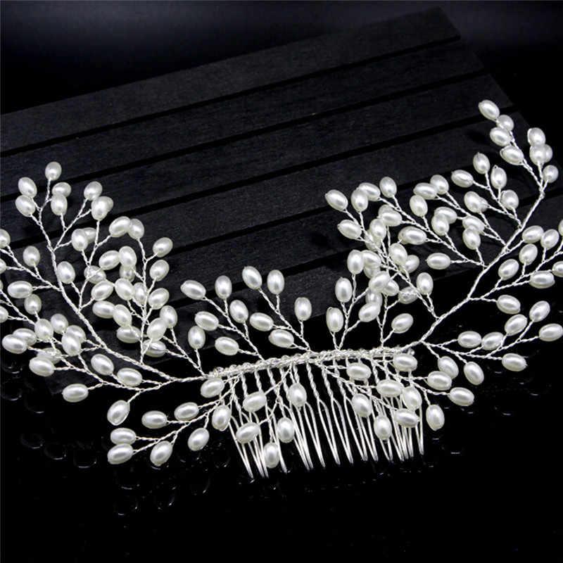 100% Monili Wedding Dei Capelli Del Partito Pom Nuziale Stellato Pettini Perla Handmade New Luxury Vintage Sposa Accessori Per Capelli 11.5 cm
