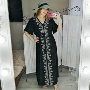 Image 5 - 2020 אלגנטי רקום שחור כותנה טוניקת נשים וחוף קפטן סקסי V צוואר פרפר שרוול קיץ שמלת חוף חיפוי Q1042