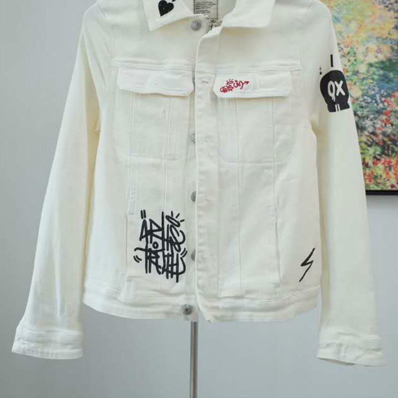 Women Jacket Cotton Embroidery Short White Coat