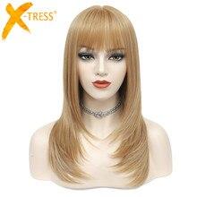 Peluca Rubia de fresa con flequillo, Cosplay, pelucas de pelo sintético X TRESS, longitud media de 20 pulgadas, peluca recta, peluca para mujer