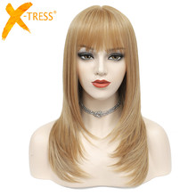 Strawberry Blonde Pruik Met Pony Cosplay Synthetisch Haar Pruiken X TRESS Medium Lengte 20Inch Rechte Pruik Haarstukje Voor Vrouwen