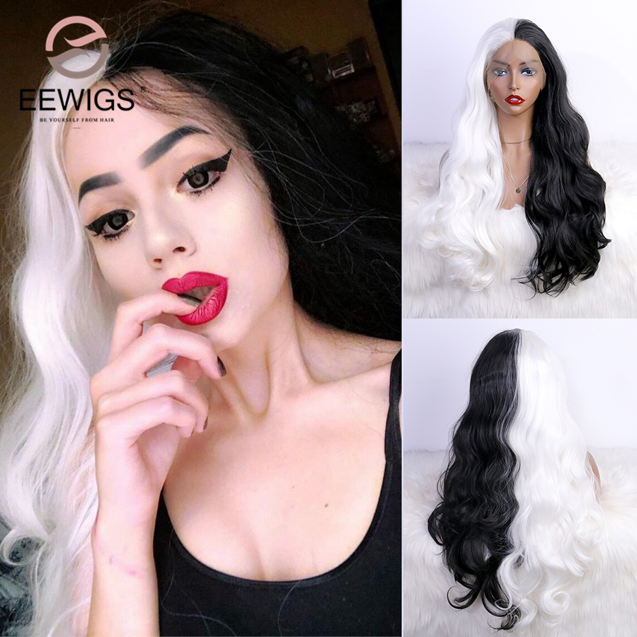 EEWIG Half Black Half White Box Braid Wig Loose Wave Synthetic Lace Front Wig with Natural Hairline Ombre Braided Wigs for Women