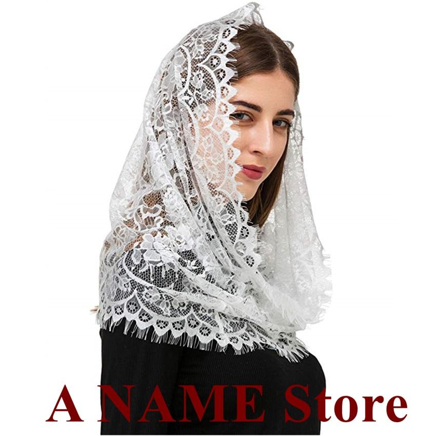 Black White Lace Catholic Veil Mantilla for Church Rond Wrap Head Covering Latin Mass Chapel Mantilla velo negra Voile mantille