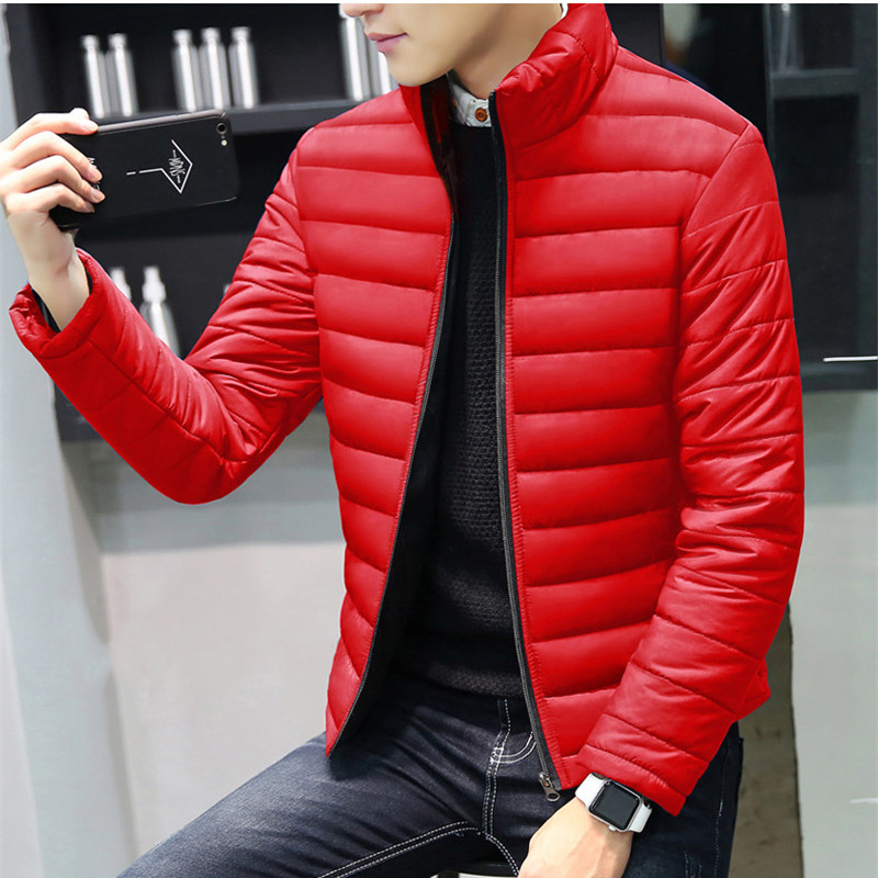 Winter Jacket Men 2019 Brand Casual Warm Coat Solid Red Jackets Thick  Parka For Men Stripe Outwear Minimalist Clothing
