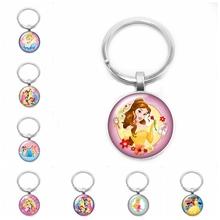 2019 New Hot Snow Princess and Beast Pattern Keychain Cute Charm Handmade Art Glass Cabochon