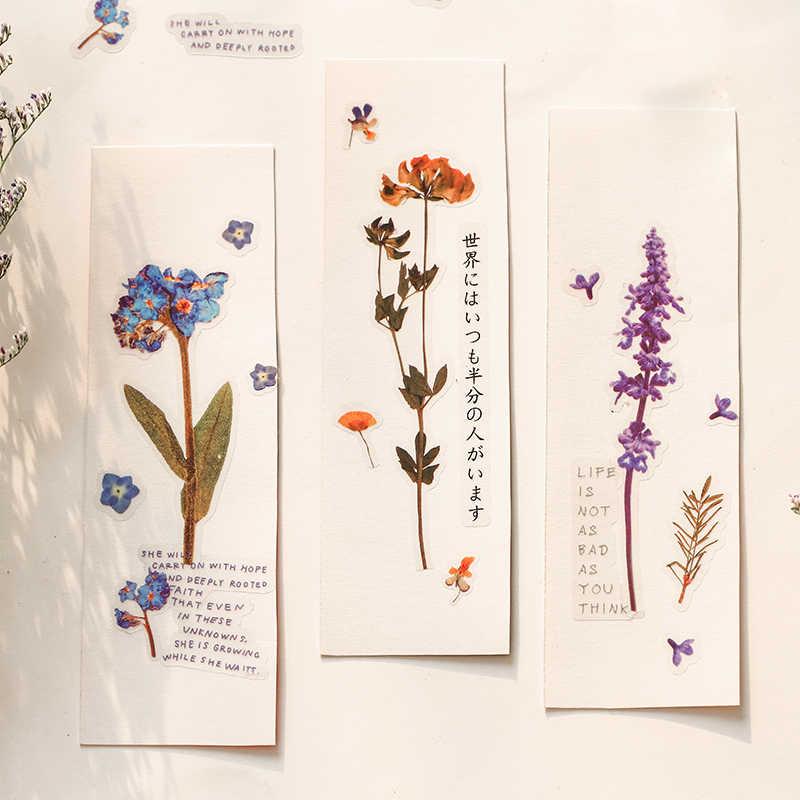 Çiçek yaprakları PET malzeme çıkartmaları DIY günlüğü dekor çıkartmalar karalama defteri kırtasiye dergisi çocuk okul malzemeleri Kawaii