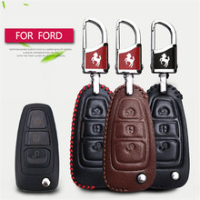 Leather Car Key Case Fob Cover For Ford Focus 3 2 Mk2 Fiesta Mk7 Mondeo Mk3 Mk4 Kuga Fusion Max 3 Key Accessories Chain Holder(China)