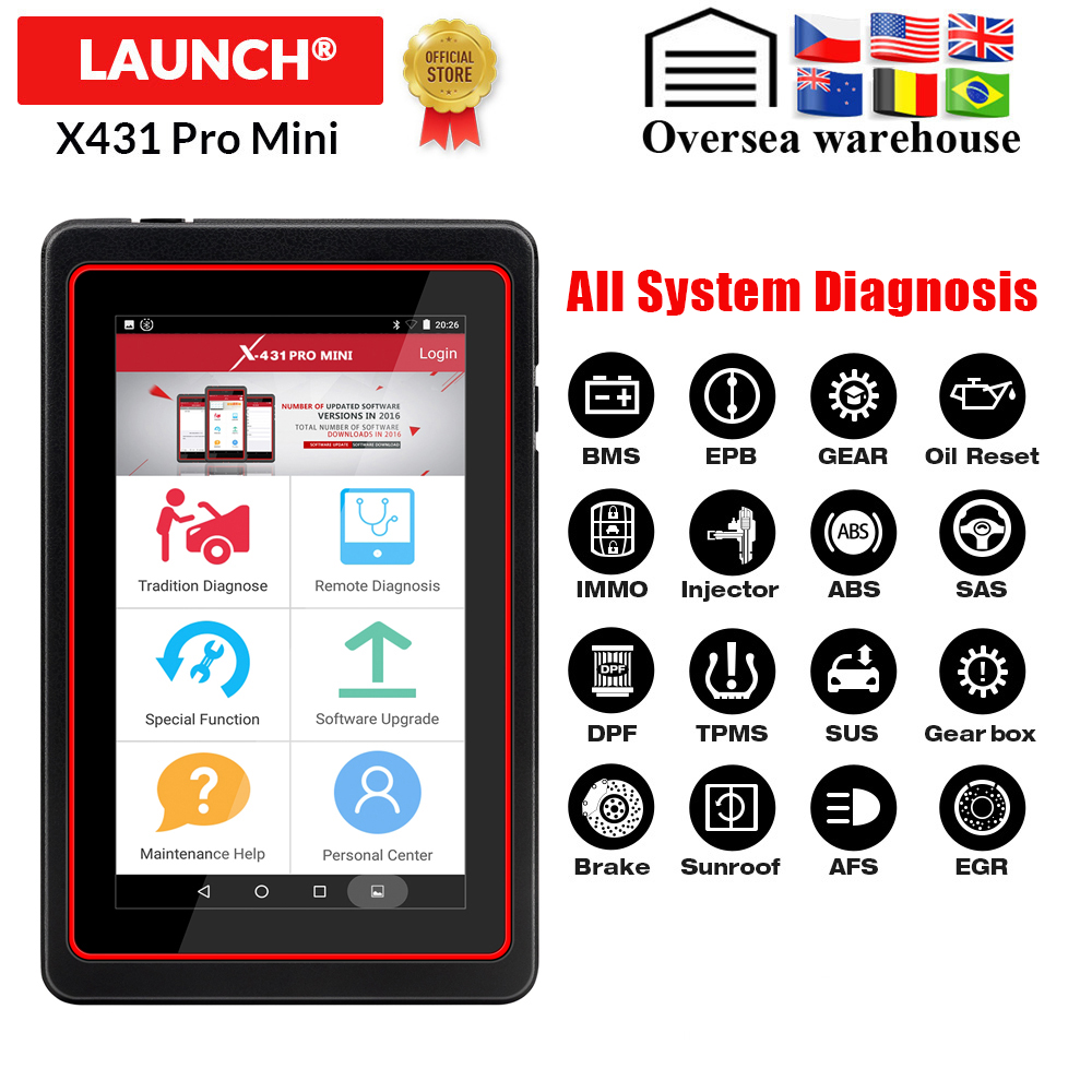 LAUNCH X431 Pro Mini Car Full system diagnostic tool automotive Wifi Bluetooth OBD2 scanner 2 years free update PK Diagun IVEngine Analyzer   -