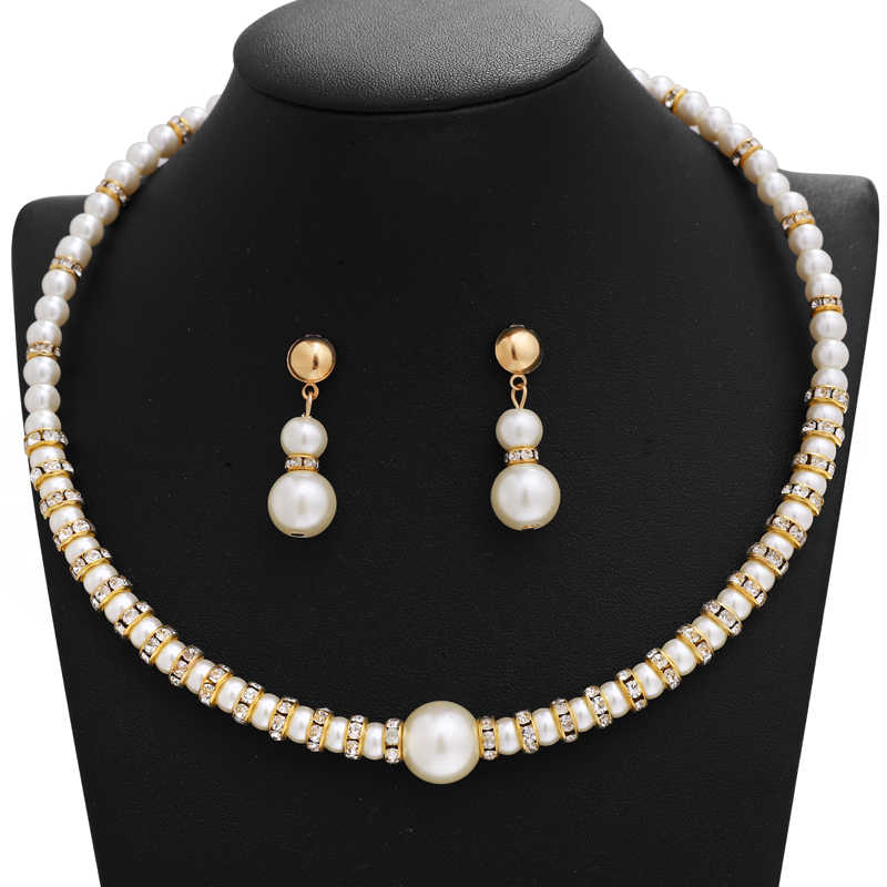 Fashion Simulated Pearl Jewelry Set Bride Wedding Jewelry Sets Simple Crystal Chocker Necklace Earrings Sets for Women