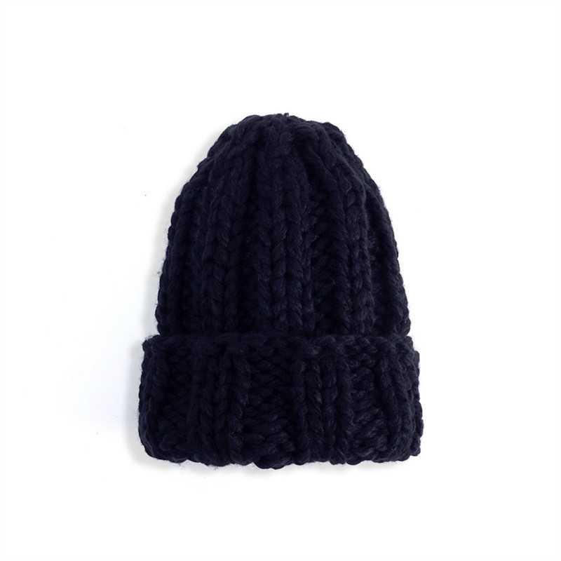 Women Winter Knitted Beanies Hat Thick Soft Warm Coarse Large Knitted Solid Hat Female Ice Ski Bonnet Skullies Beanies Hat Cap 82