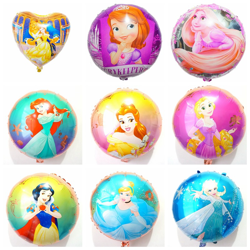 (10pcs/lot) <font><b>princess</b></font> <font><b>party</b></font> balloons 18inch round rapunzel belle snow white helium balloons for girl happy birthday balloons image