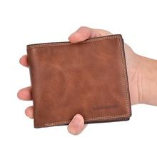 цена на Men's Wallet Leather PU Bi-Fold Short Wallet Men's Retro Men's Wallet Coin Bag Multifunction Card Wallet Luxury Designer
