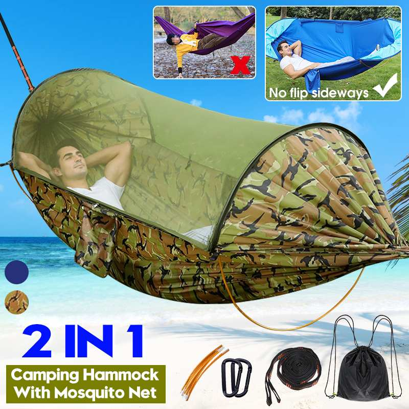 2020 Outdoor Automatic Quick Open Mosquito Net Tent Hammock Waterproof Portable Double Hammock Anti-mosquito for Garden Camping