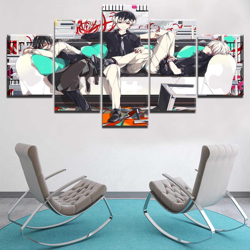 5 Panel Haise Sasaki Ve Ken Kaneki Posteri modern ev duvar dekoru Resim Baskı Anime Tokyo Ghoul Boyama Tuval Sanat