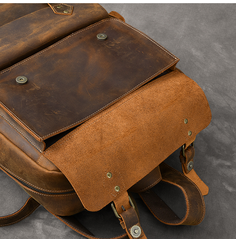 AETOO Original genuine Leather Retro Men backpack real cow Leather Large Capacity backpack men laptop backpack business bags - 4