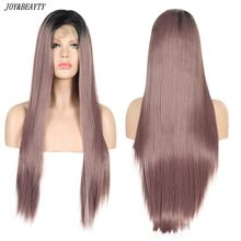 JOY&BEAUTY Ombre Purple Long Straight Synthetic Hair Lace Front Wigs For