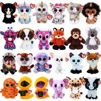 6 zoll 15 CM Ty Beanie Boos Großen Augen Fuchs Katze Hund Affe Einhorn Kuh Elefanten Tier Sammlung Plüsch Puppe spielzeug Kinder Geburtstag Geschenk