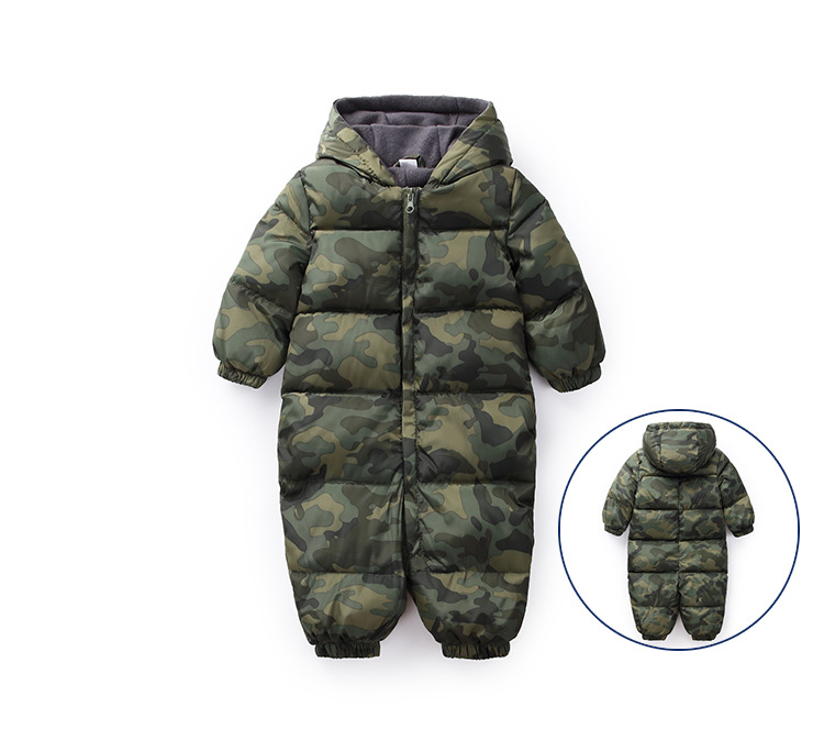 New Fall Winter Warm Infant Baby Polka Dot Rompers Down Jackets Fleece Overall Baby Girl Boy Halloween Xmas Costume Clothes