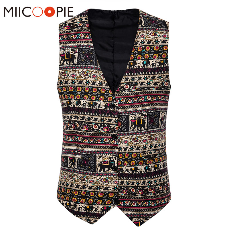 Stripe Elephant Printed Linen Suit Vest Men Fashion National Style Sleeveless Waistcoat Luxury Single Breasted Chaleco Hombre