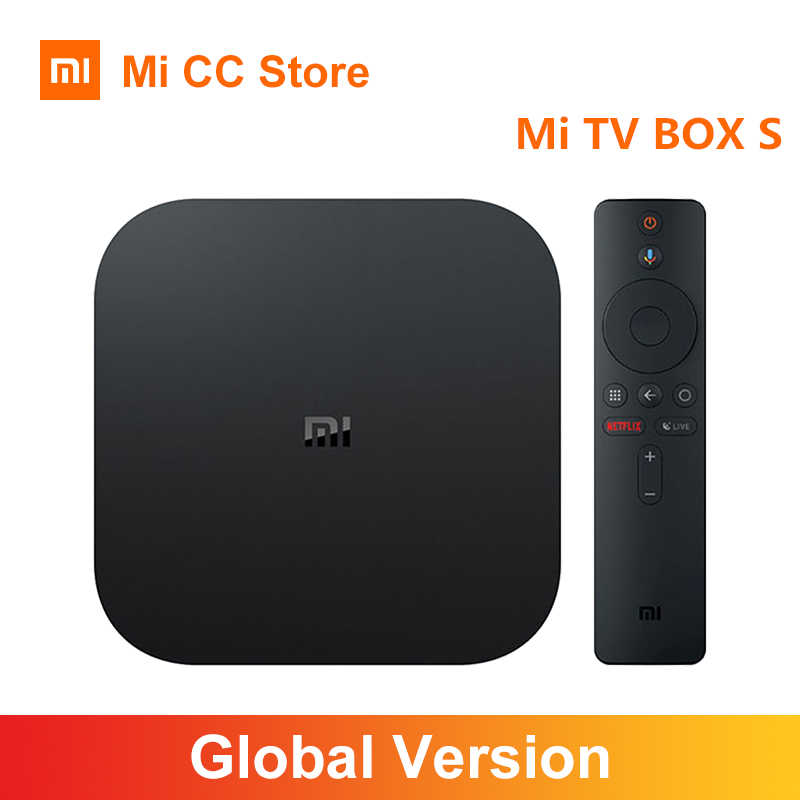 Versão global xiaomi mi caixa de tv s 4k ultra hd android tv 9.0 hdr 2gb 8gb wifi google elenco netflix smart tv mi caixa 4 media player