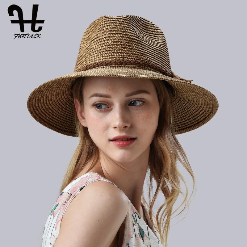 FURTALK Summer Hat For Women Straw Beach Hat Panama Sun Hats Fedora Bucket Caps For Female Summer Beach UV Cap Chapeau Femme