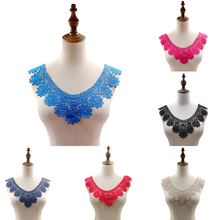 1Pcs Red Floral Applique Embroidery DIY Lace Fabric Neckline Collar Sewing Applique Supplies Scrapbooking Embroidered Collar