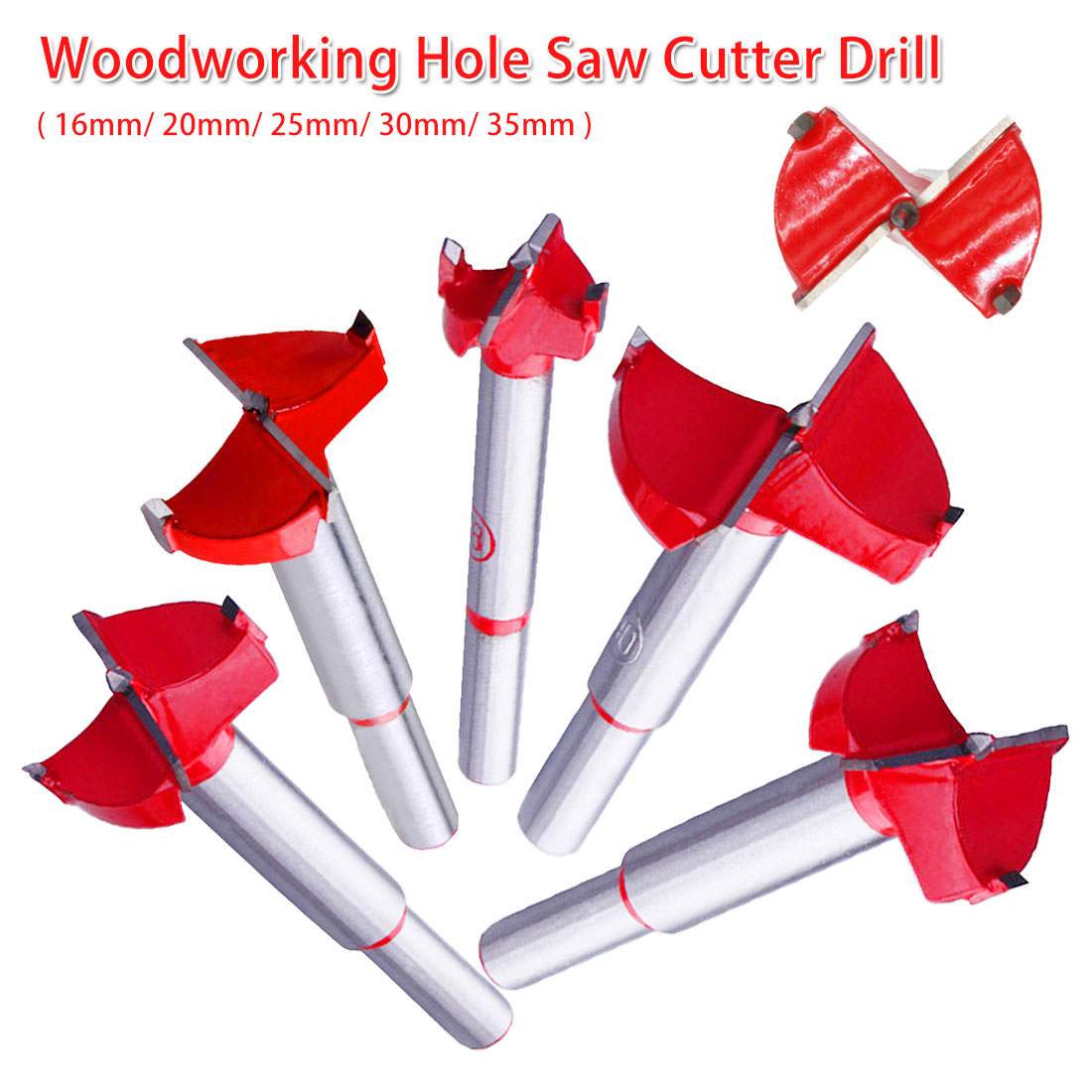 Professional Forstner Woodworking Hole Saw Cutter Alloy Hole Opener Drill Bit Flat Wing Drill 16-35mm For Wood Panel/ Cabinet