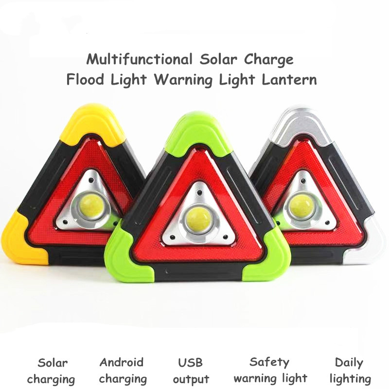 Solar Charging And Dry Battery LED Flood Light Camping Lighting Tool Triangular Multi-function Warning Emergency Lights Portable