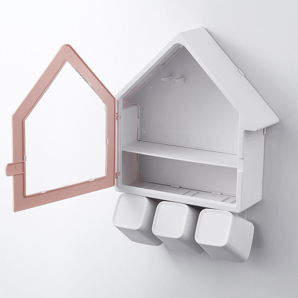 Small House Toothbrush Holder Wall Mounted Storage Rack Toothbrush Organizer With 3 Cups Bathroom Makeup Storage Rack Organizer