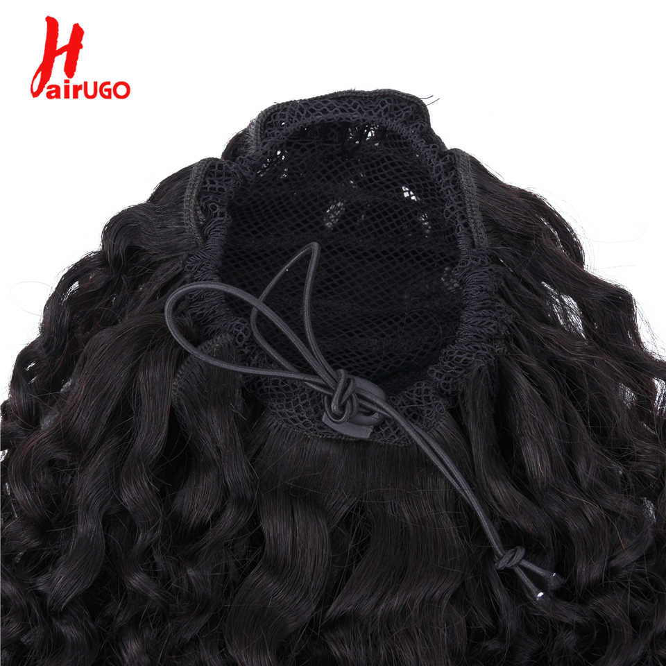HairUGo Deep Kinky Cola de Caballo 100% cabello humano cordón cola de caballo con Clips para mujeres extensiones de cabello Remy brasileño 12- 22 pulgadas
