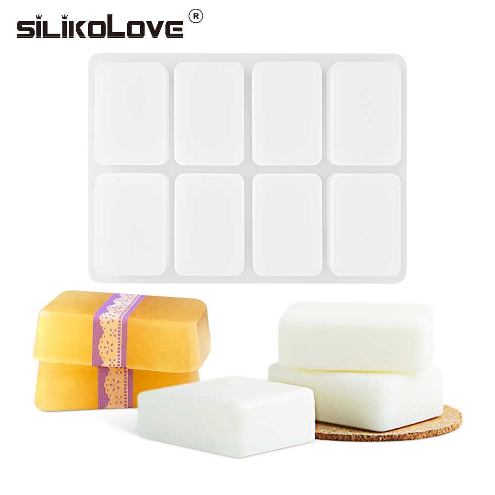 SILIKOLOVE 8 Cavity ซิลิโคนแม่พิมพ์สำหรับ DIY สบู่โฮมเมดสบู่ซิลิโคนแม่พิมพ์สบู่ก้อนรูปแบบ