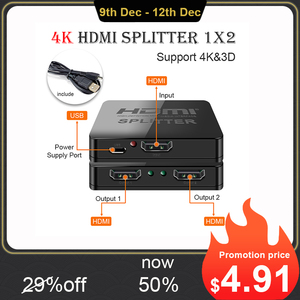 Hdmi Splitter 1 in 2 out 1080p 4K 1x2 1x4 HDCP Stripper 3D Splitter Power Signal Amplifier HDMI Splitter For HDTV DVD PS3 Xbox(China)