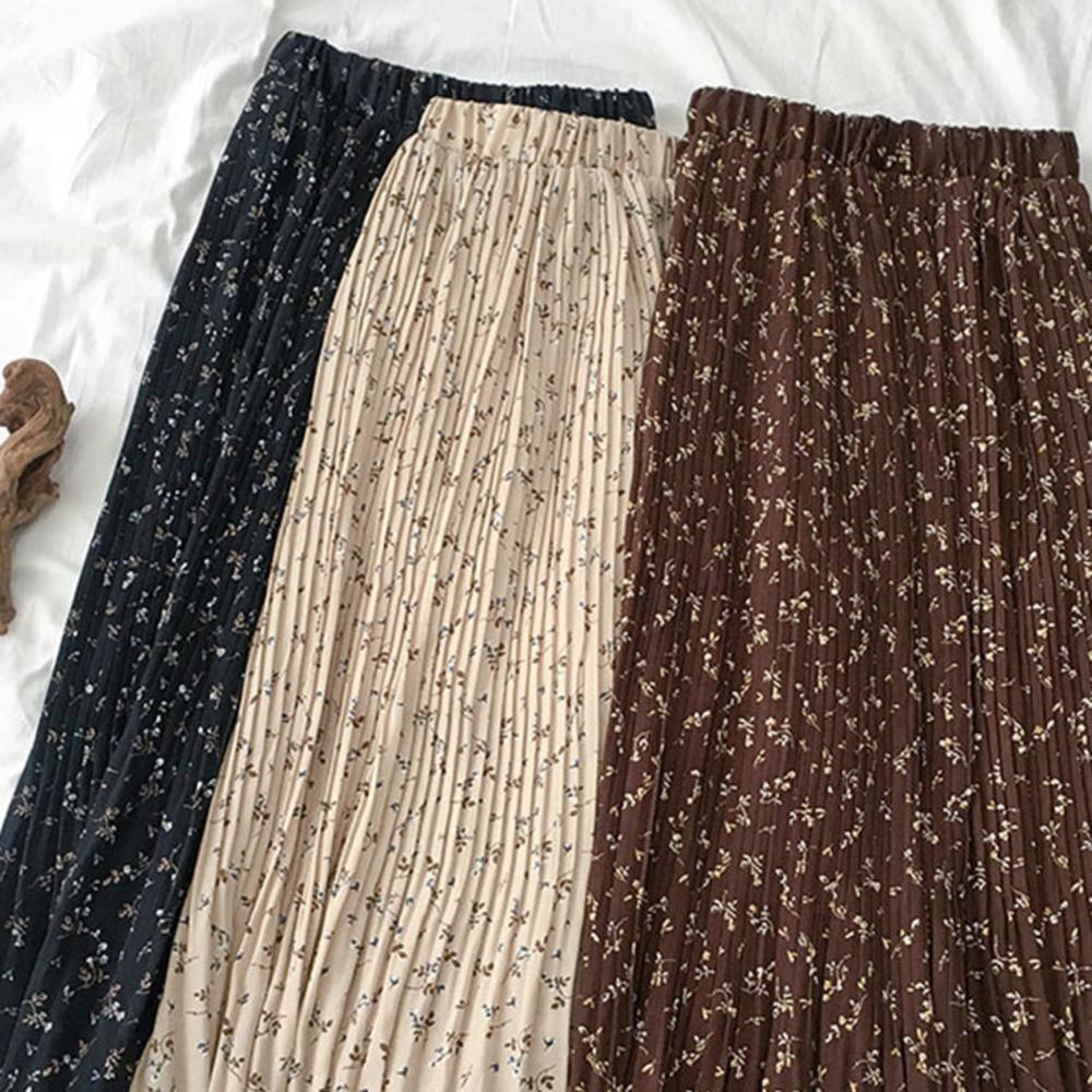 Flower Vintage Maxi Skirt Women Casual Elastic High Waist A-line Fashion Long Skirt Female Black Brown Bottoms