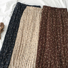 Flower Vintage Maxi Skirt Women Casual Elastic High Waist A-line Fashion Long