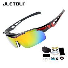купить JLETOLI Polarized Cycling Glasses Sport Sunglasses Men Windproof Bike Eyewear Bicycle Goggles Women Oculos Ciclismo Mtb 5 Lens дешево